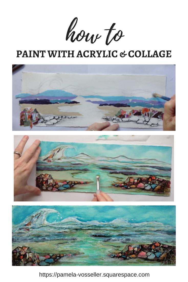 collage ocean painting.