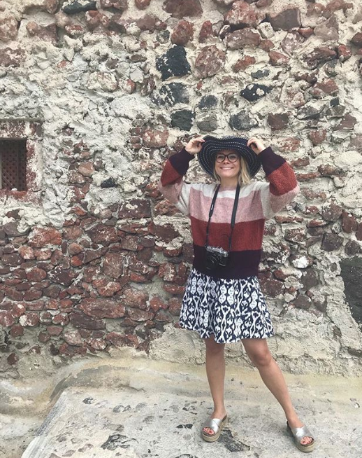 Emma on a recent trip to  Oía  in Greece