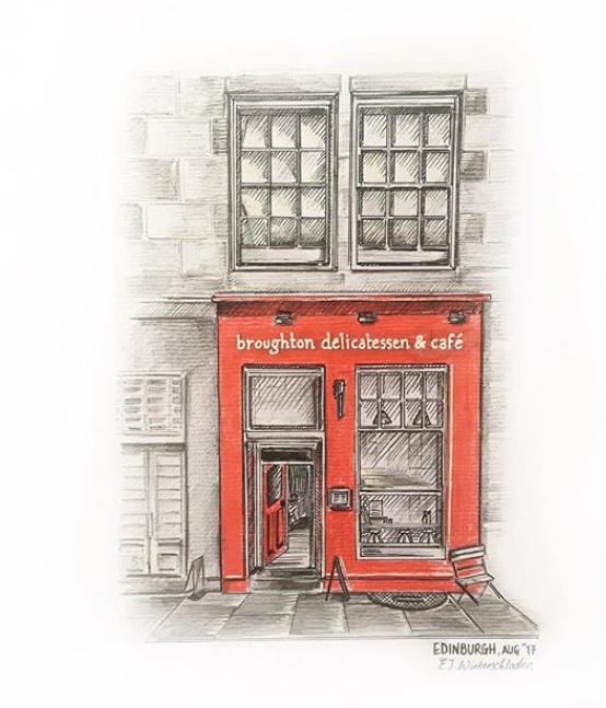 Emma's illustration of  Broughton deli  in Edinburgh, where she studied at university
