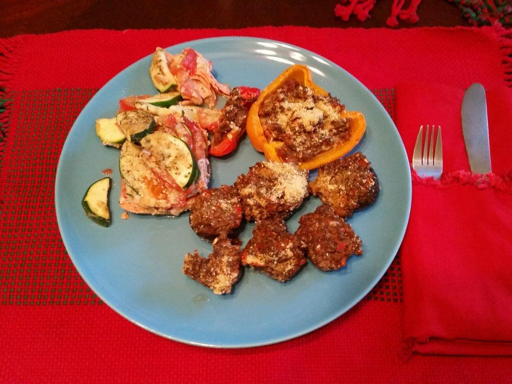 Baked Salmon & Veggies, Stuffed Bell Pepper & Mushrooms