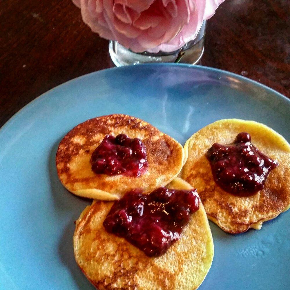 - Azorean-style Pancakes topped with Chia Jam