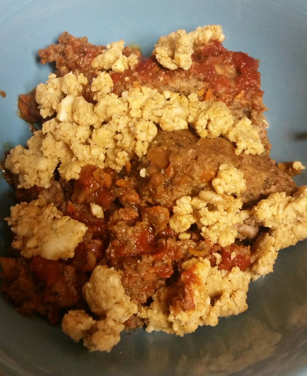 - Cashew Cheese Crumbles on Ground Beef