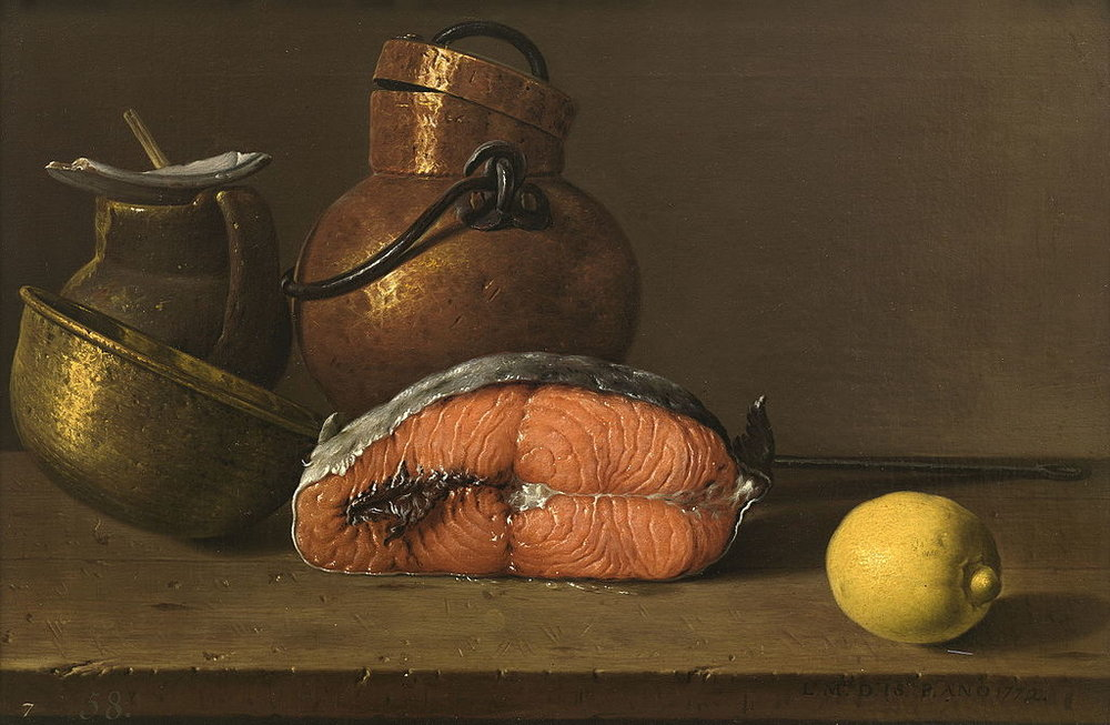 Luis Melendez, Still Life with Salmon - Creative Commons