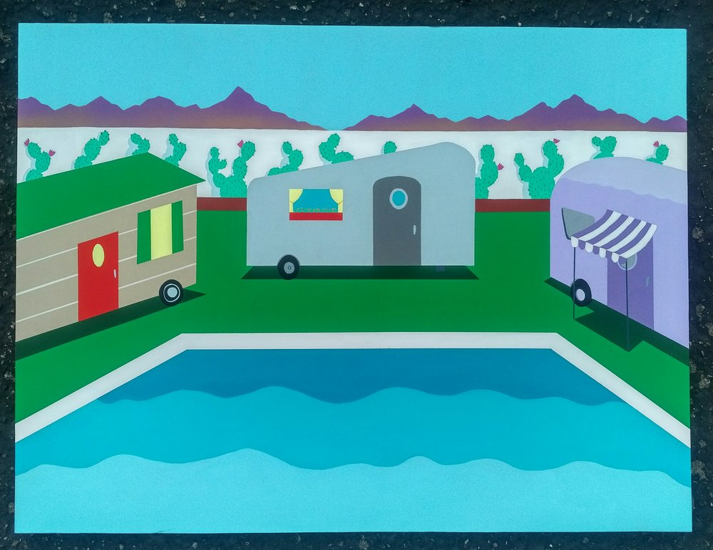 """'Poolside at the Trailer Park' Acrylic on Panel, 24"""" x 36"""""""