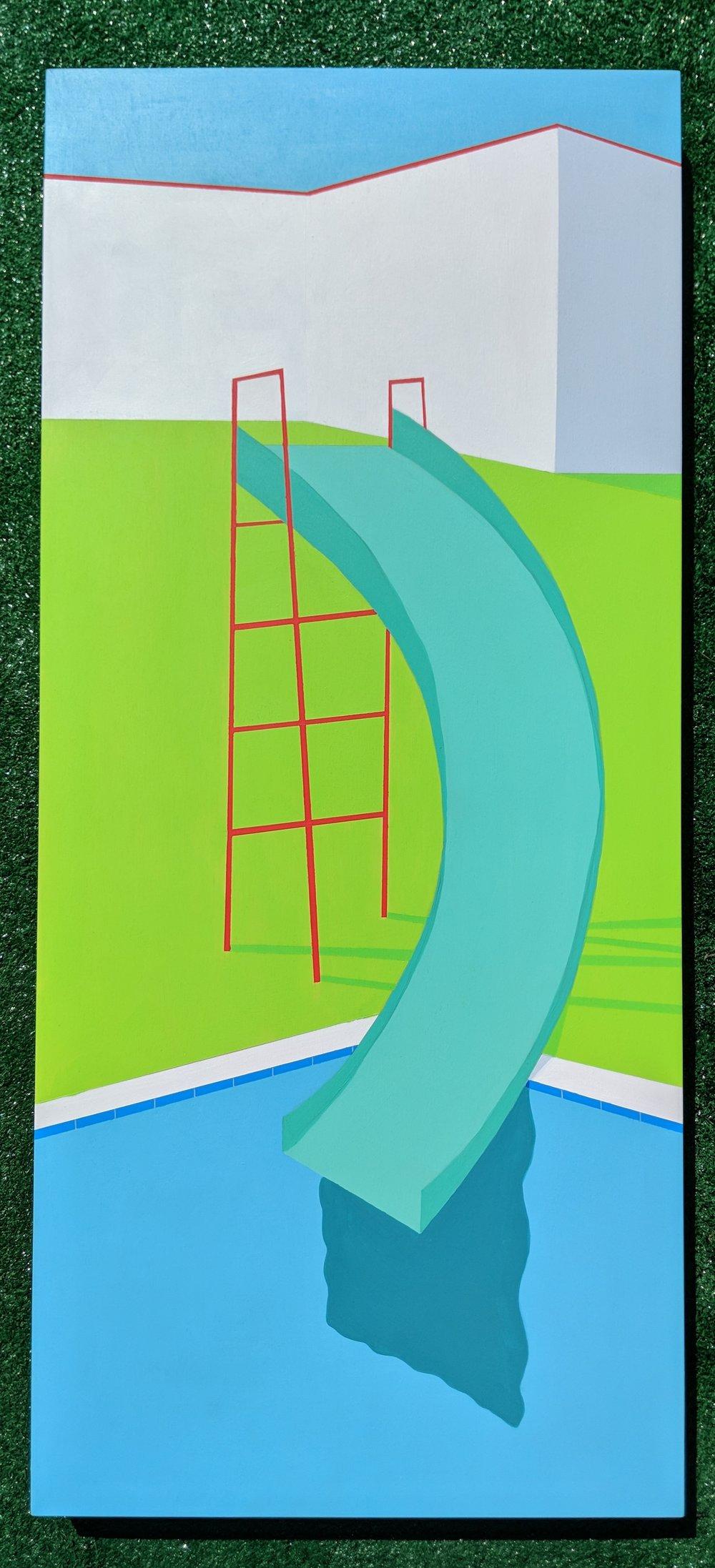 """'Waterslide' Acrylic on Panel, 16"""" x 36"""""""