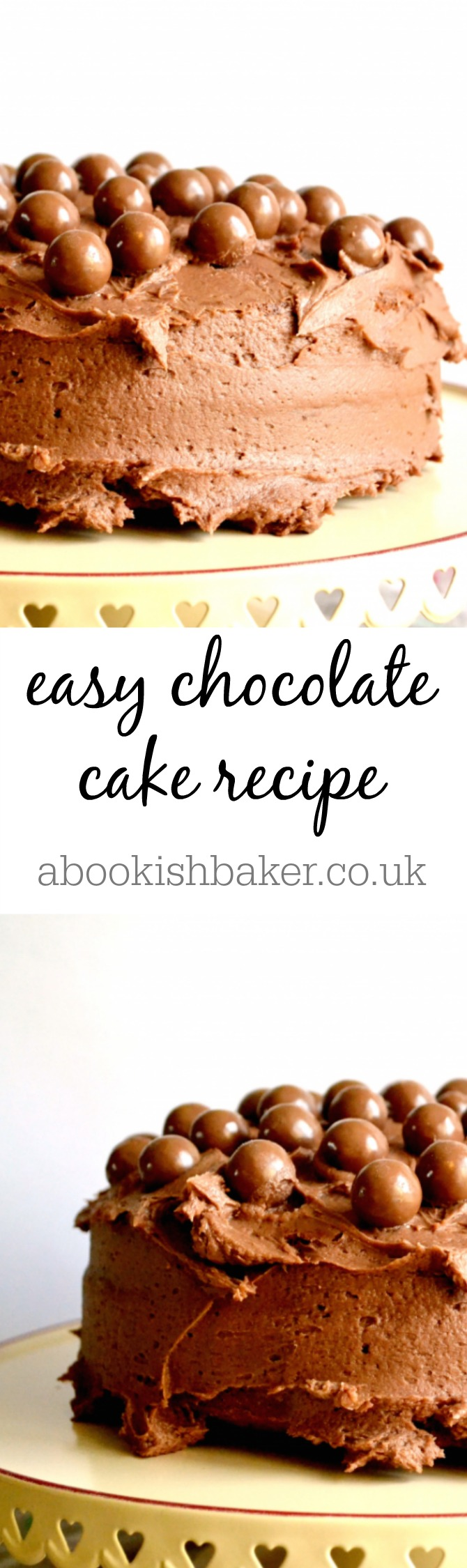 easy chocolate cake recipe - extremely delicious. Great for bake sales, coffee mornings, tea time treats and dessert. http://abookishbaker.co.uk/