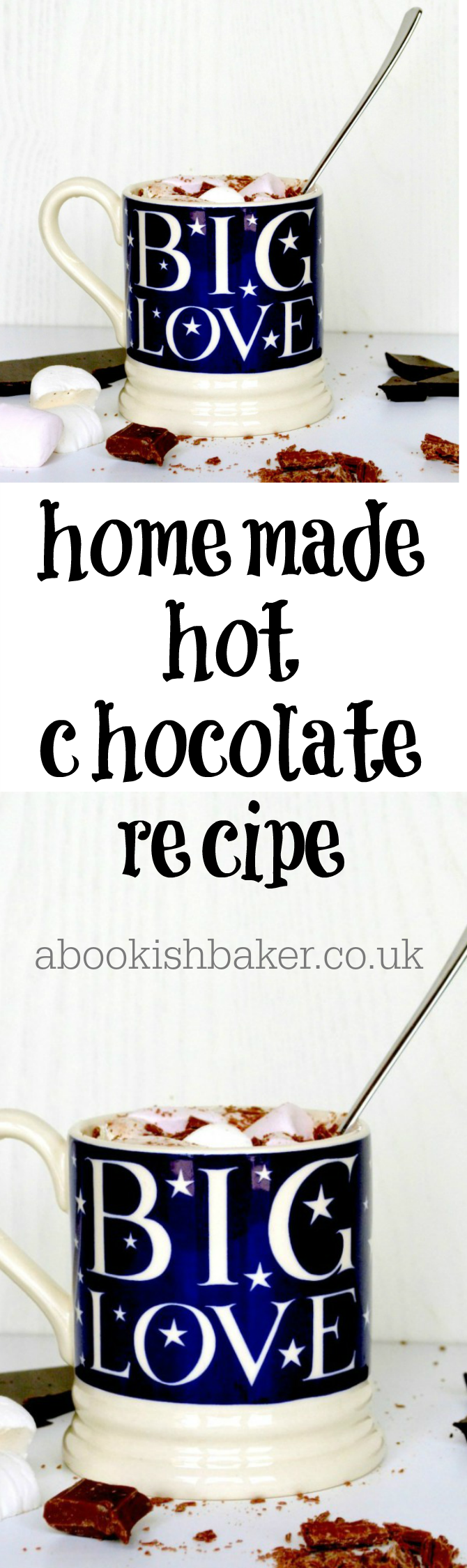 homemade hot chocolate recipe - extremely delicious. Great for evenings in front of the fire, hygge, winter, cold days. http://abookishbaker.co.uk/