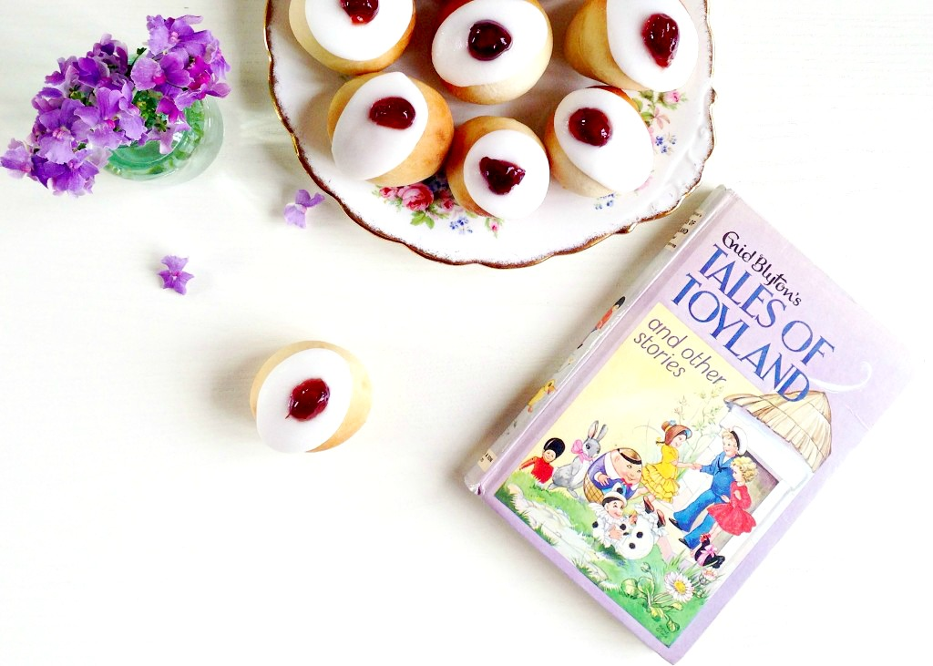 Cherry topped iced buns from Tales of Toyland by Enid Blyton