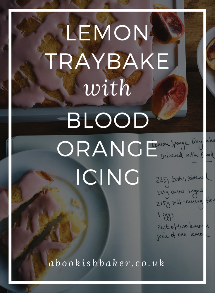 lemon traybake with blood orange icing