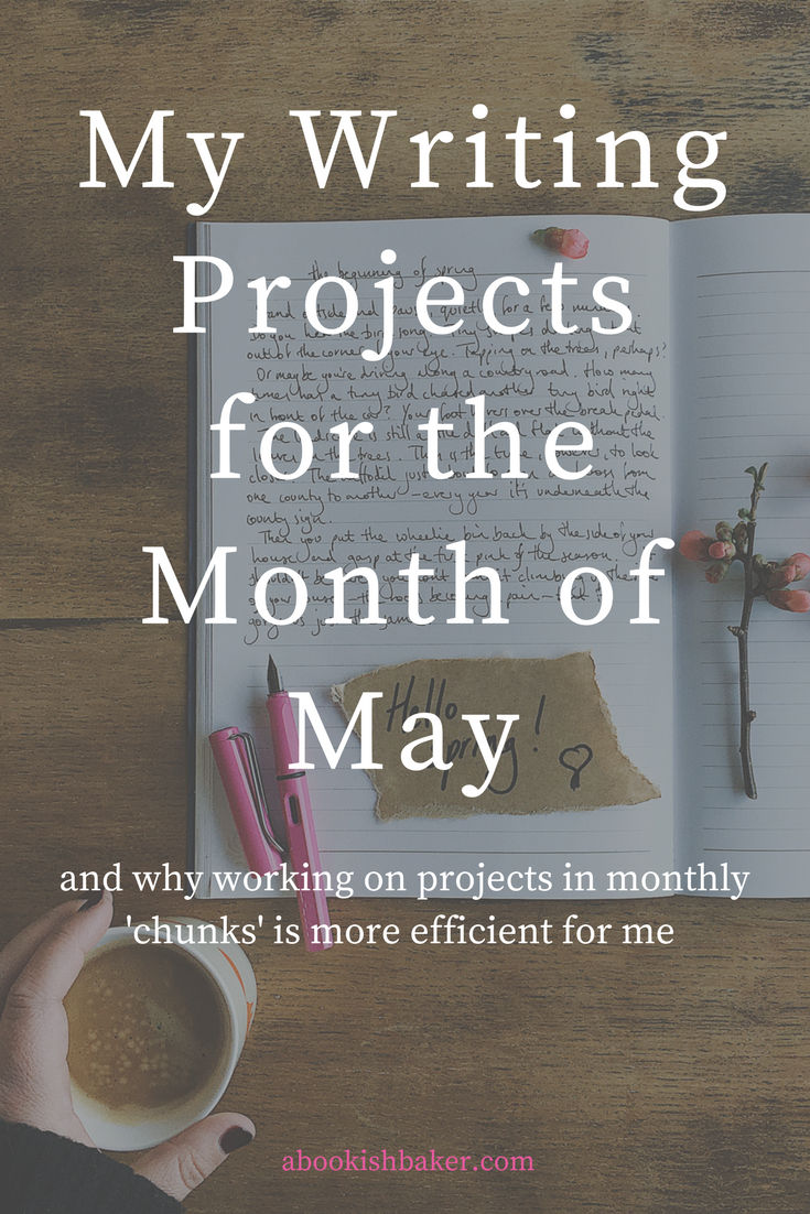 My writing projects for the month of May and why working on projects in monthly 'chunks' is more efficient for me