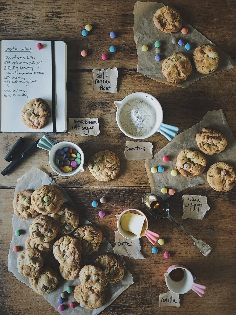 a simple and tasty recipe for smartie cookies. Great for children's parties or just for comfort.