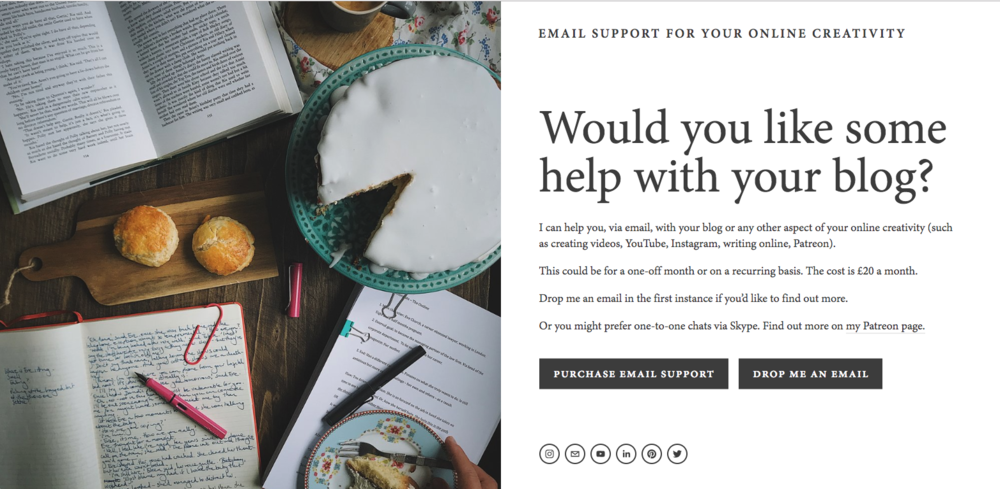 blogging and online creativity email support
