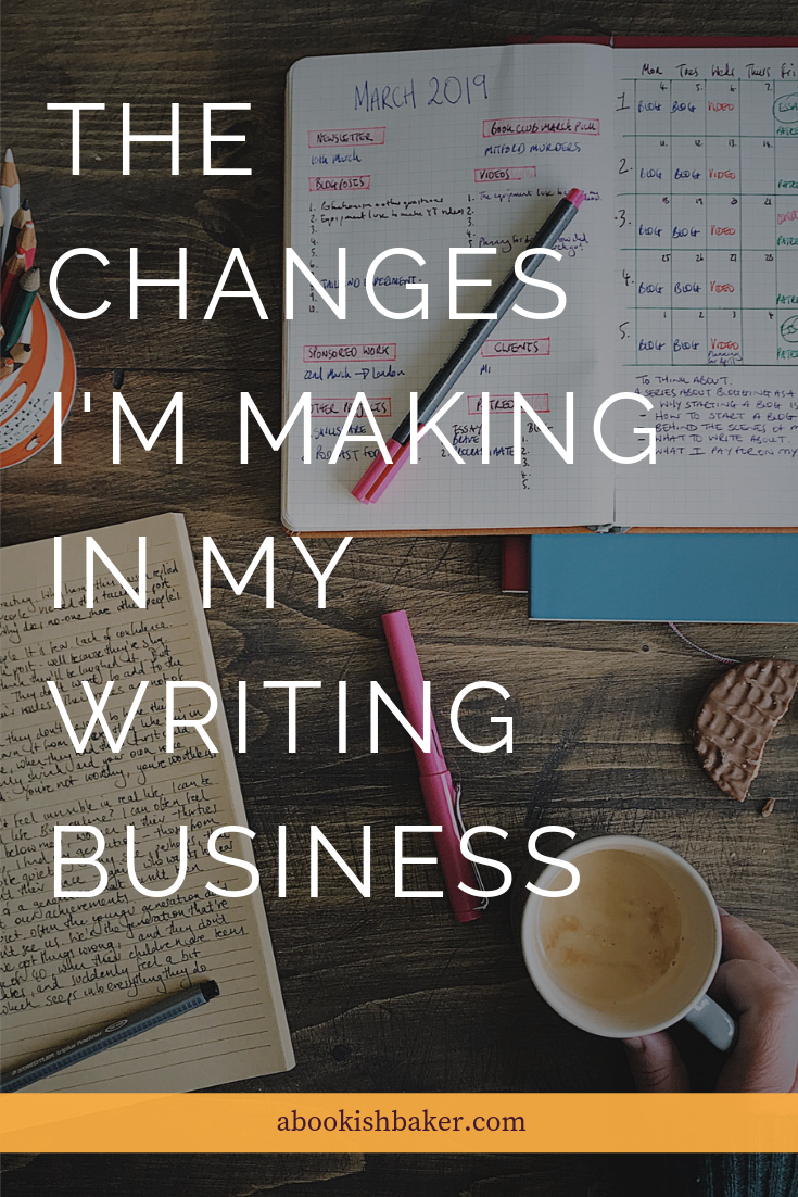 the changes I'm making in my writing business