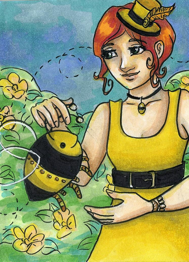 Golden Summer Steampunk_ A Girl and her Bee_Anna Van Skike with AnnaVSart.com.JPG