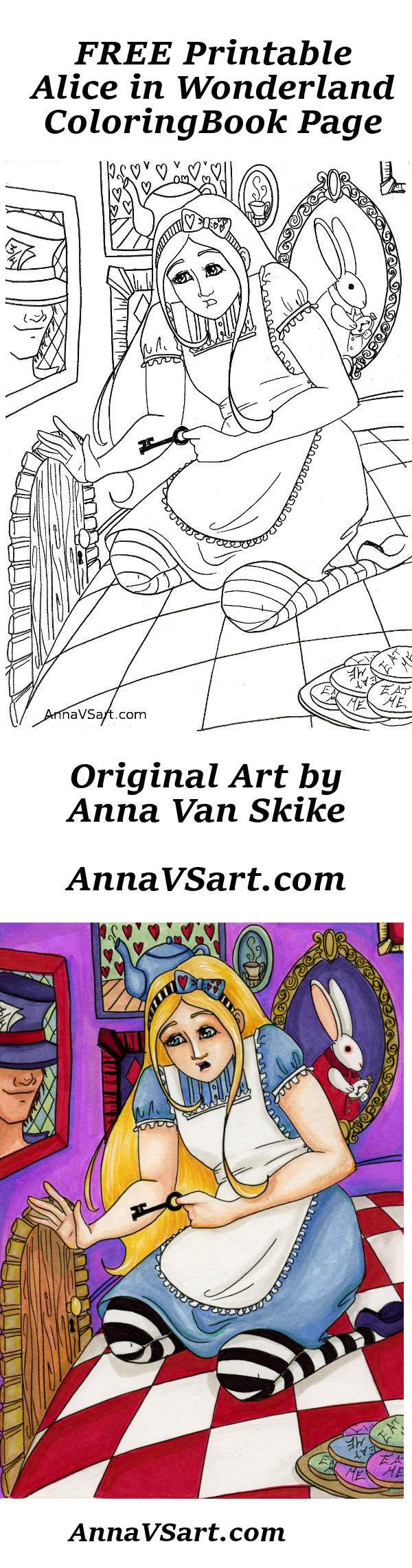 Alice in Wonderland Free Printable Coloring Book Page
