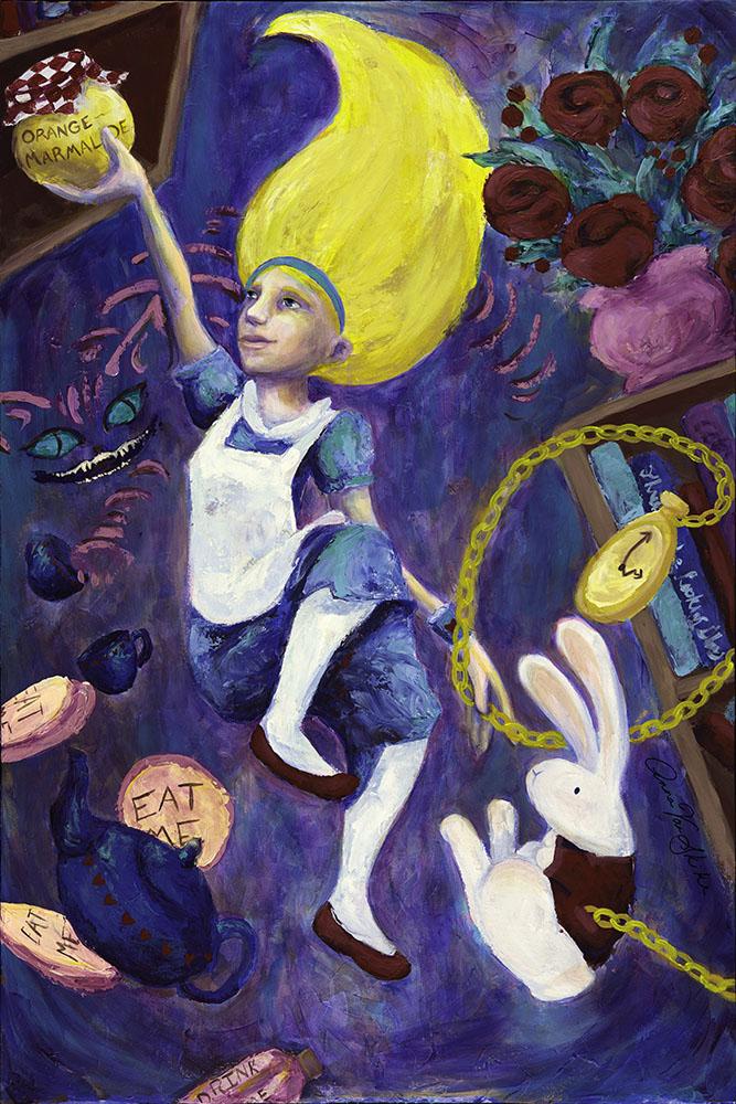 Alice in Wonderland Down the Rabbit Hole print by Anna Van Skike