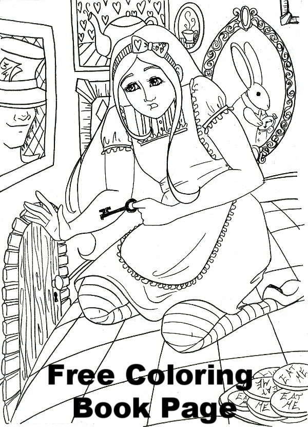 Free Alice in Wonderland Coloring Book Page