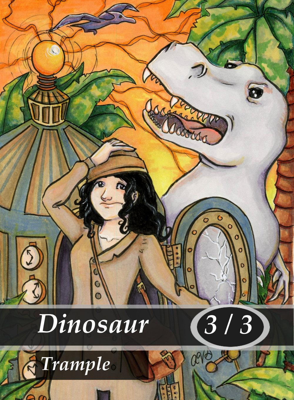 Dinosaur Magic the Gathering MTG Token by Anna Van Skike with AnnaVSart