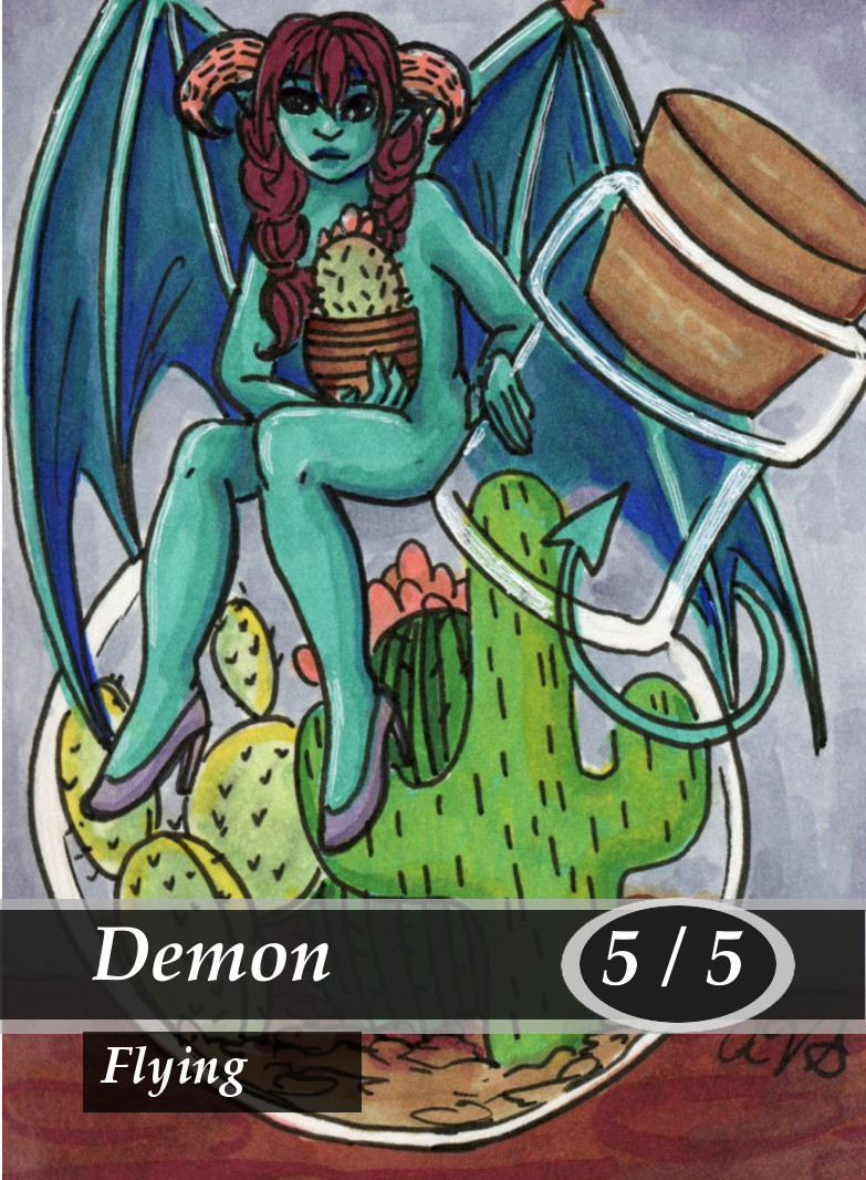 Demon 3 Magic the Gathering MTG Token by Anna Van Skike with AnnaVSart