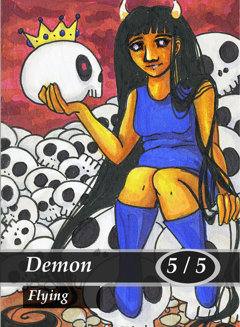 Demon 1 Magic the Gathering MTG Token by Anna Van Skike with AnnaVSart
