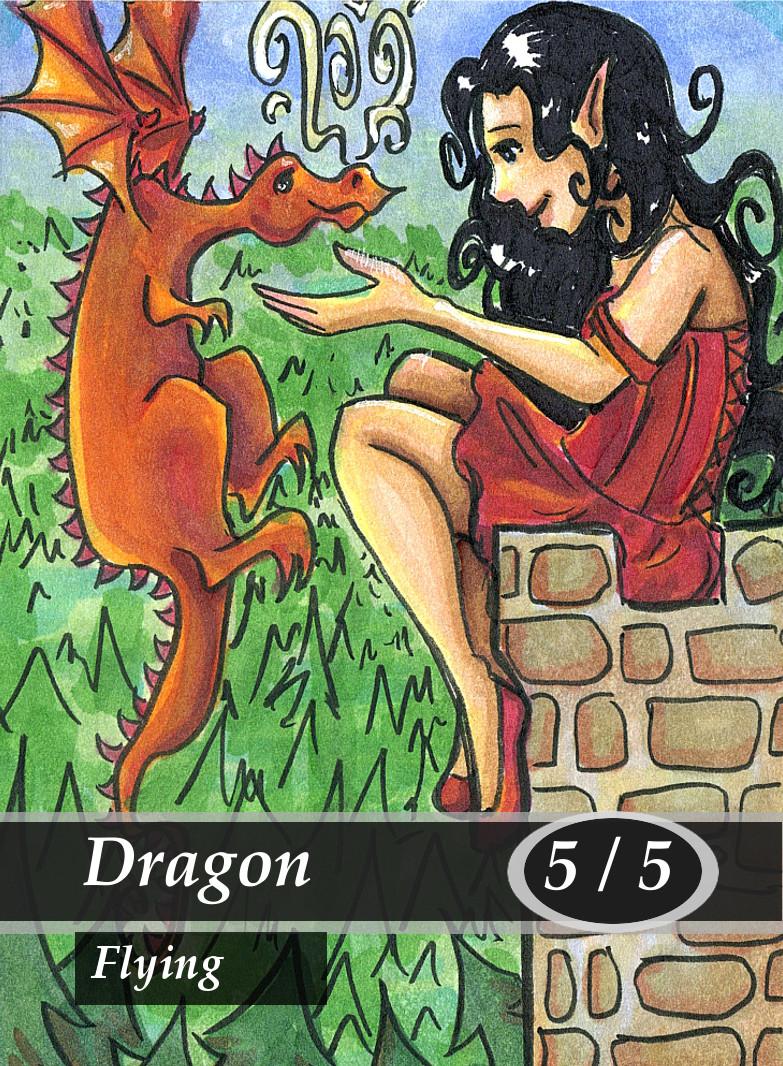 Dragon Magic the Gathering MTG Token by Anna Van Skike with AnnaVSart