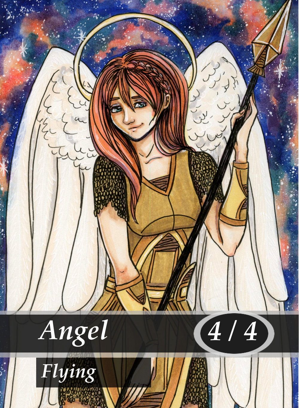 Angel Magic the Gathering MTG Token by Anna Van Skike with AnnaVSart