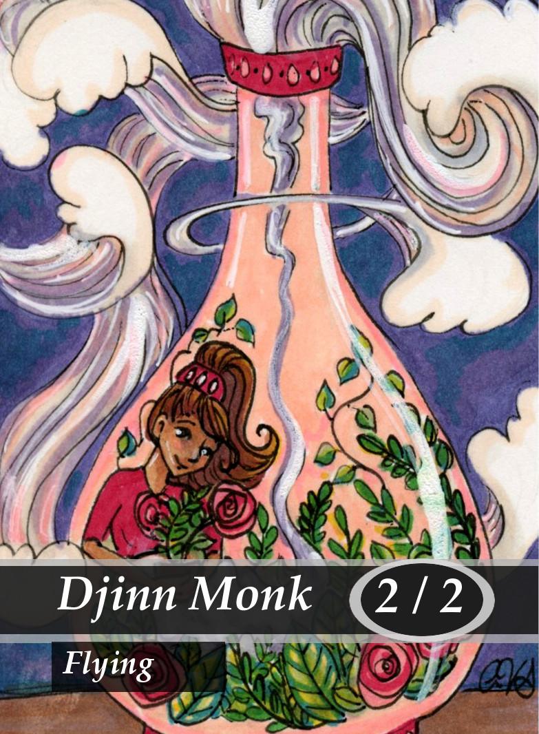 Djinn Monk Magic the Gathering MTG Token by Anna Van Skike with AnnaVSart