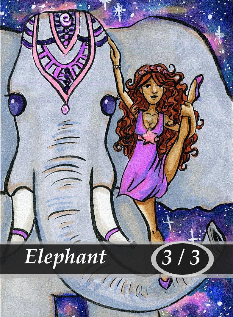 Elephant Magic the Gathering MTG Token by Anna Van Skike with AnnaVSart