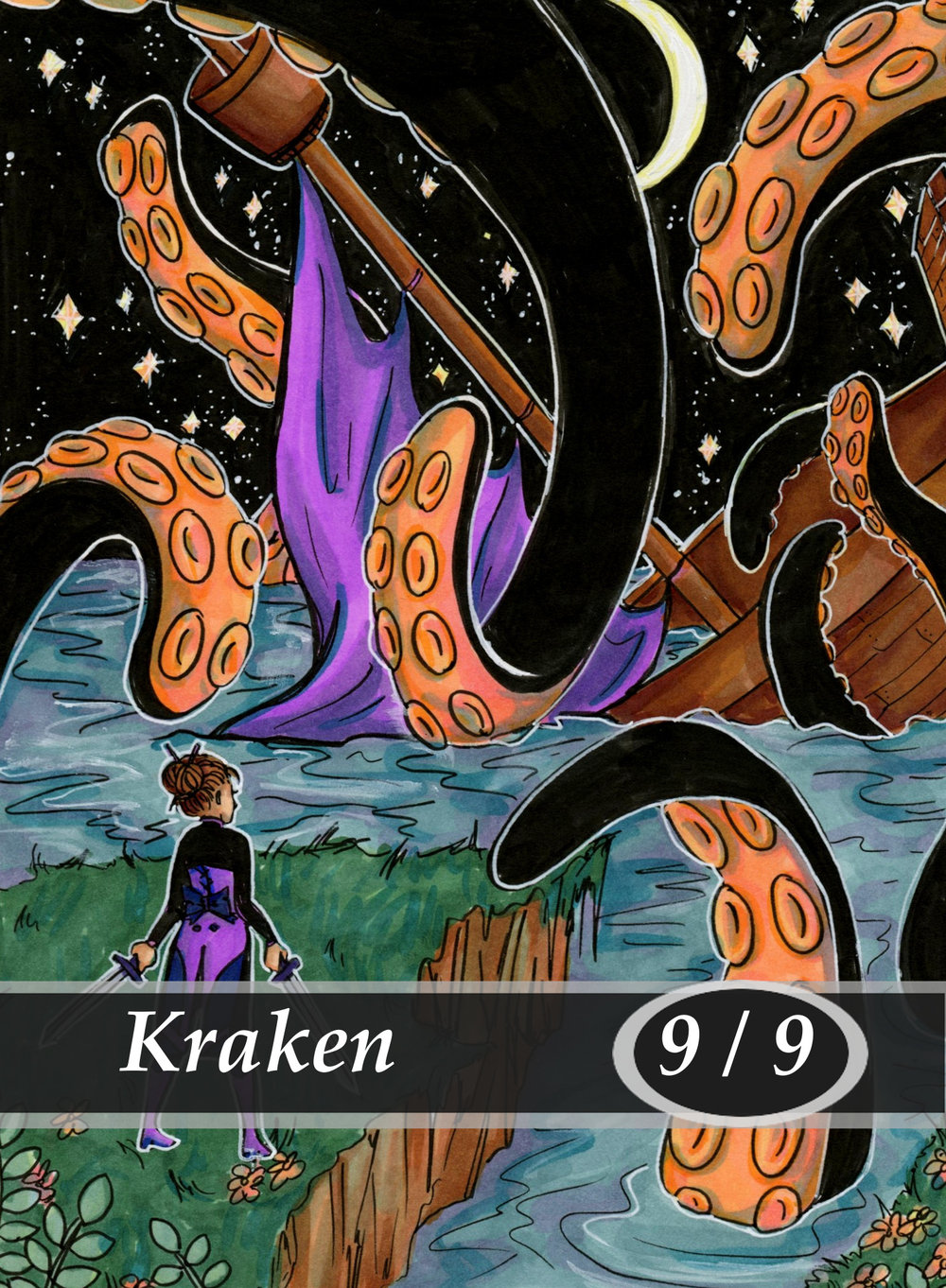 Kraken Magic the Gathering MTG Token by Anna Van Skike with AnnaVSart