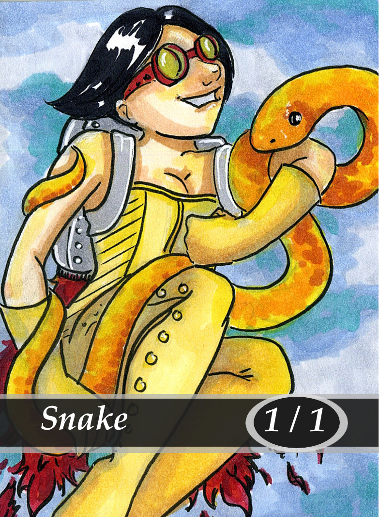 Snake Magic the Gathering MTG Token by Anna Van Skike with AnnaVSart