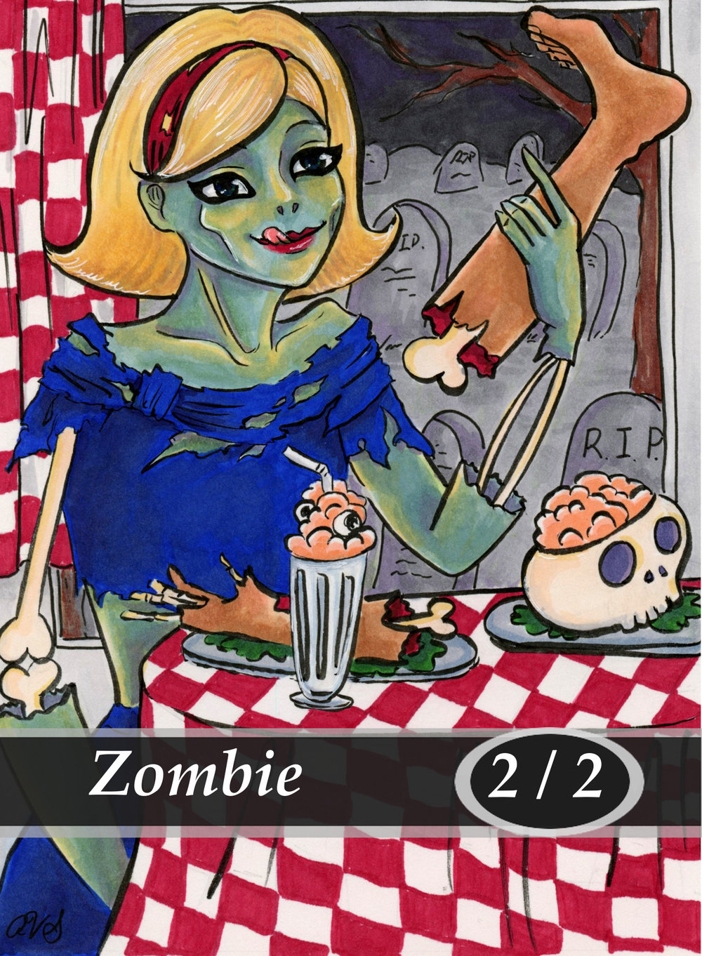 Zombie Magic the Gathering MTG Token by Anna Van Skike with AnnaVSart