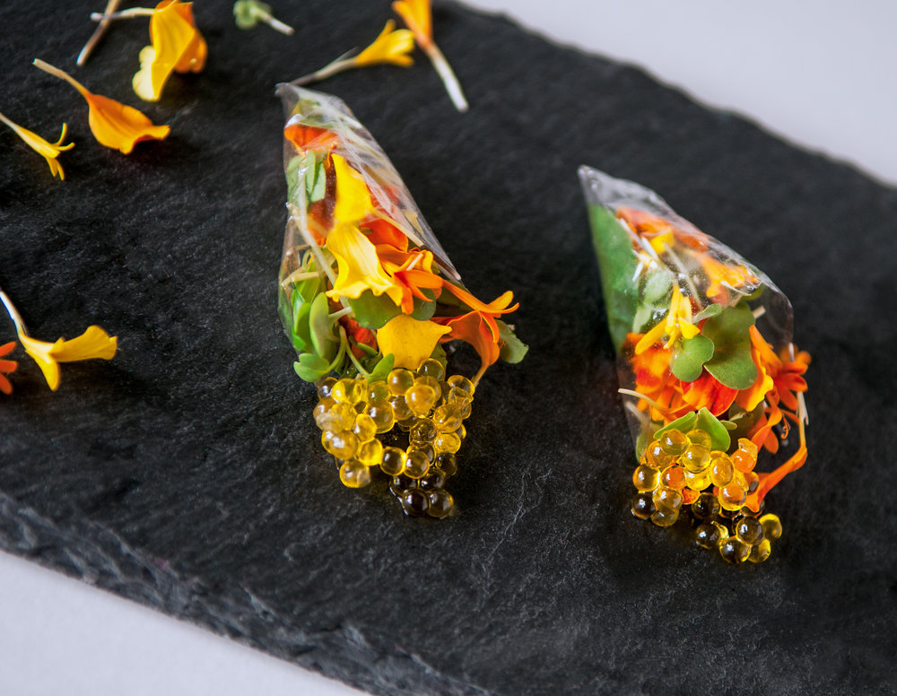 Edible Flower Salad + Olive Oil Caviar