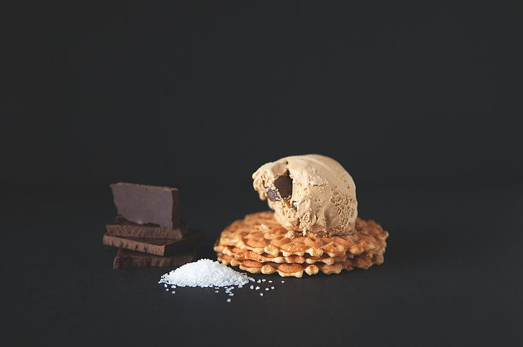 Sea salt Caramel Gelato on Italian Wafers
