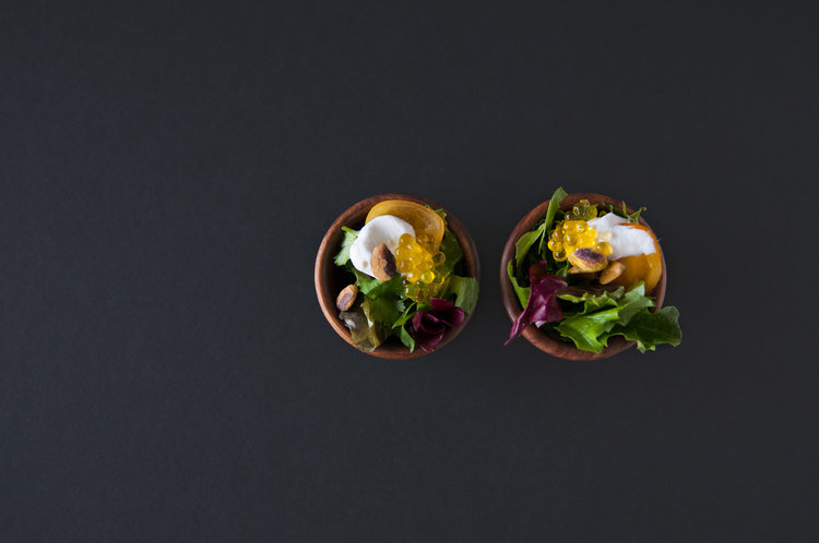 Mini Salads with Olive Oil Caviar