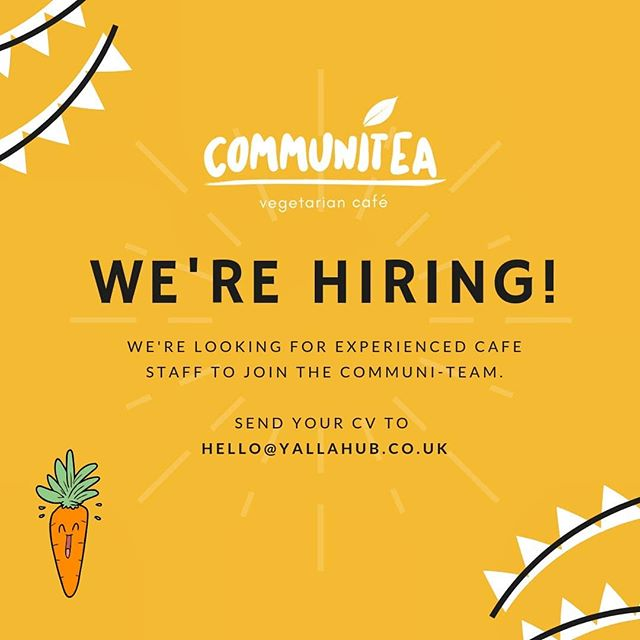 Communitea is hiring! We're looking for someone with barista experience and a passion for veggie foods 🥕🥦🌽 if you are someone who would love to grow with us, send us your CV and let's talk 🌼
