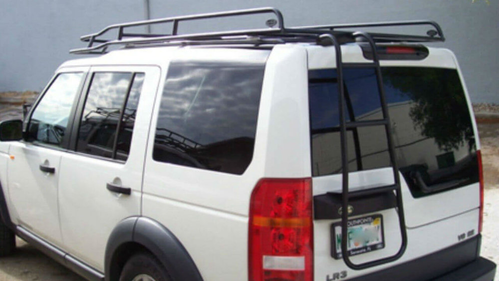 Land-Rover-LR3-Voyager-low-profile-roof-rack-off-rear-access-ladder-road-Voyager-Offroad