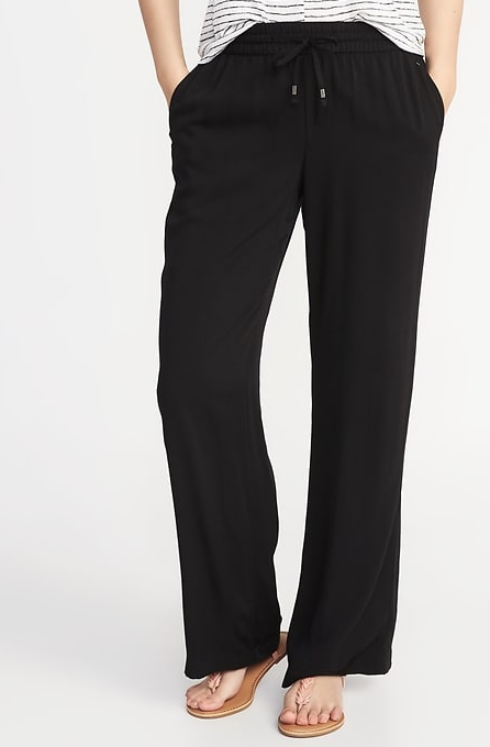 Mid-Rise Wide-Leg Soft Pants