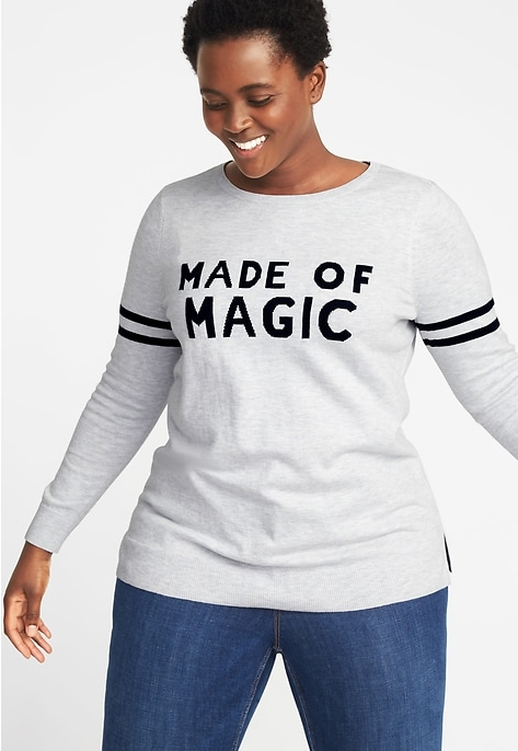 Classic Plus-Size Graphic Crew-Neck Sweater