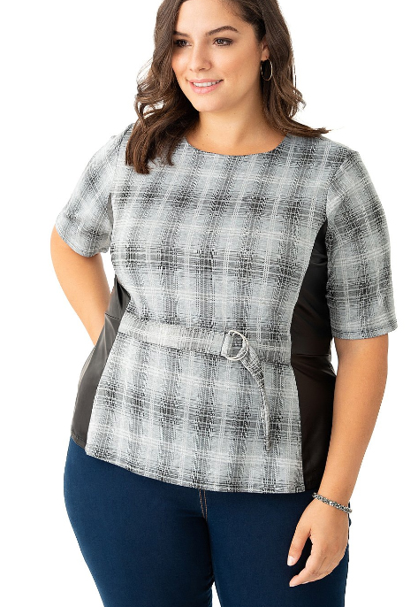 Plaid Peplum Top with Faux Leather Trim