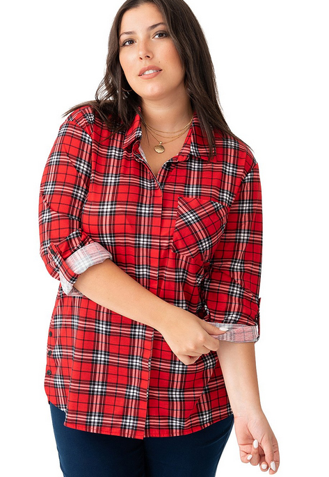 Single Pocket Plaid Shirt with Side Buttons