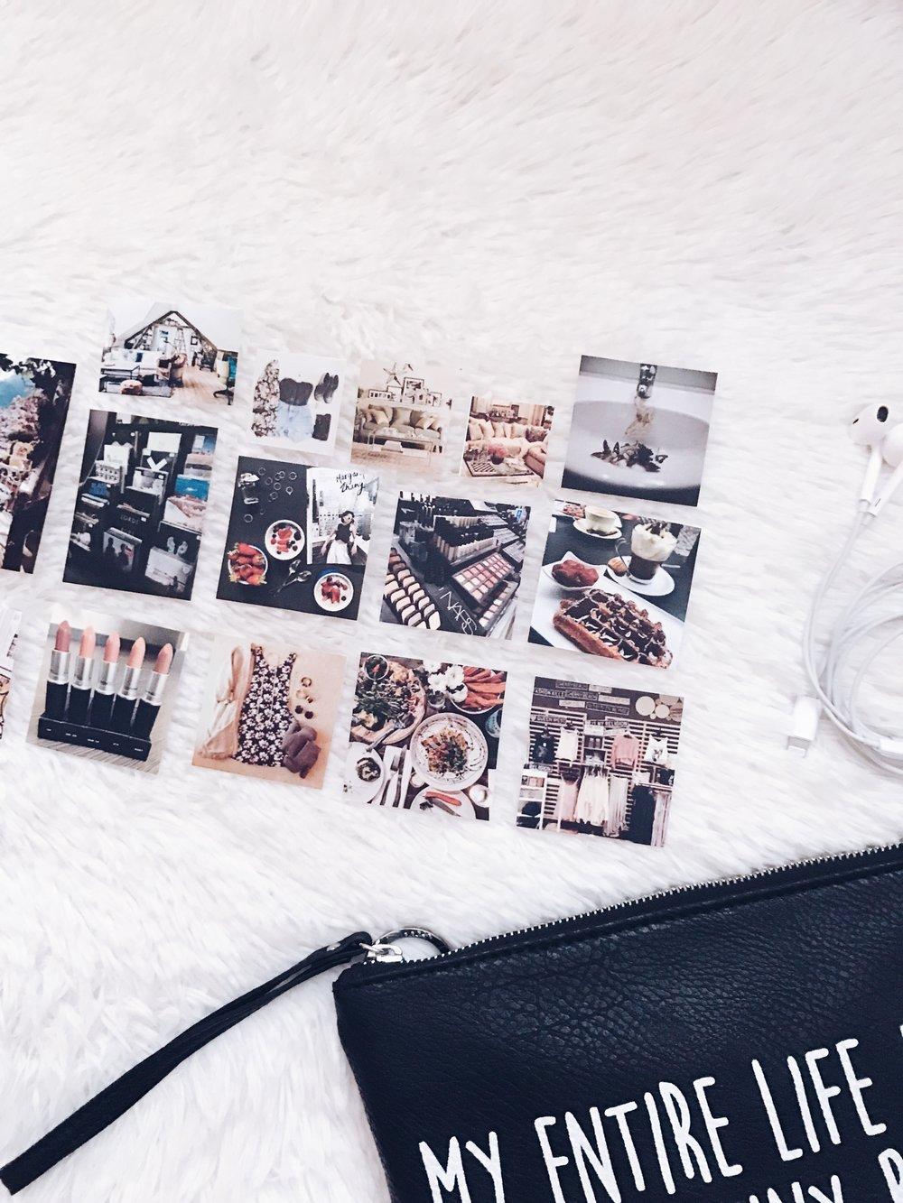 Принтираните снимки: Pinterest    Козметична чантичка: Tally Weijl    Слушалки: Apple