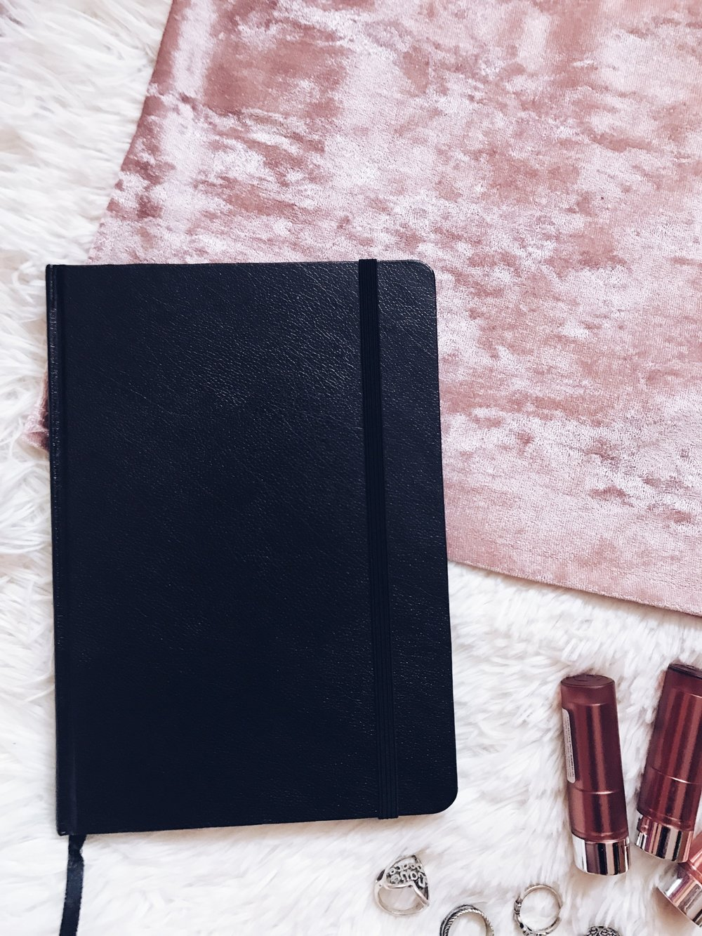 crushed velvet rose gold top black lace outfit ootd jewelry lipstick rings moleskine notebook flatlay style fashion arockchicklife
