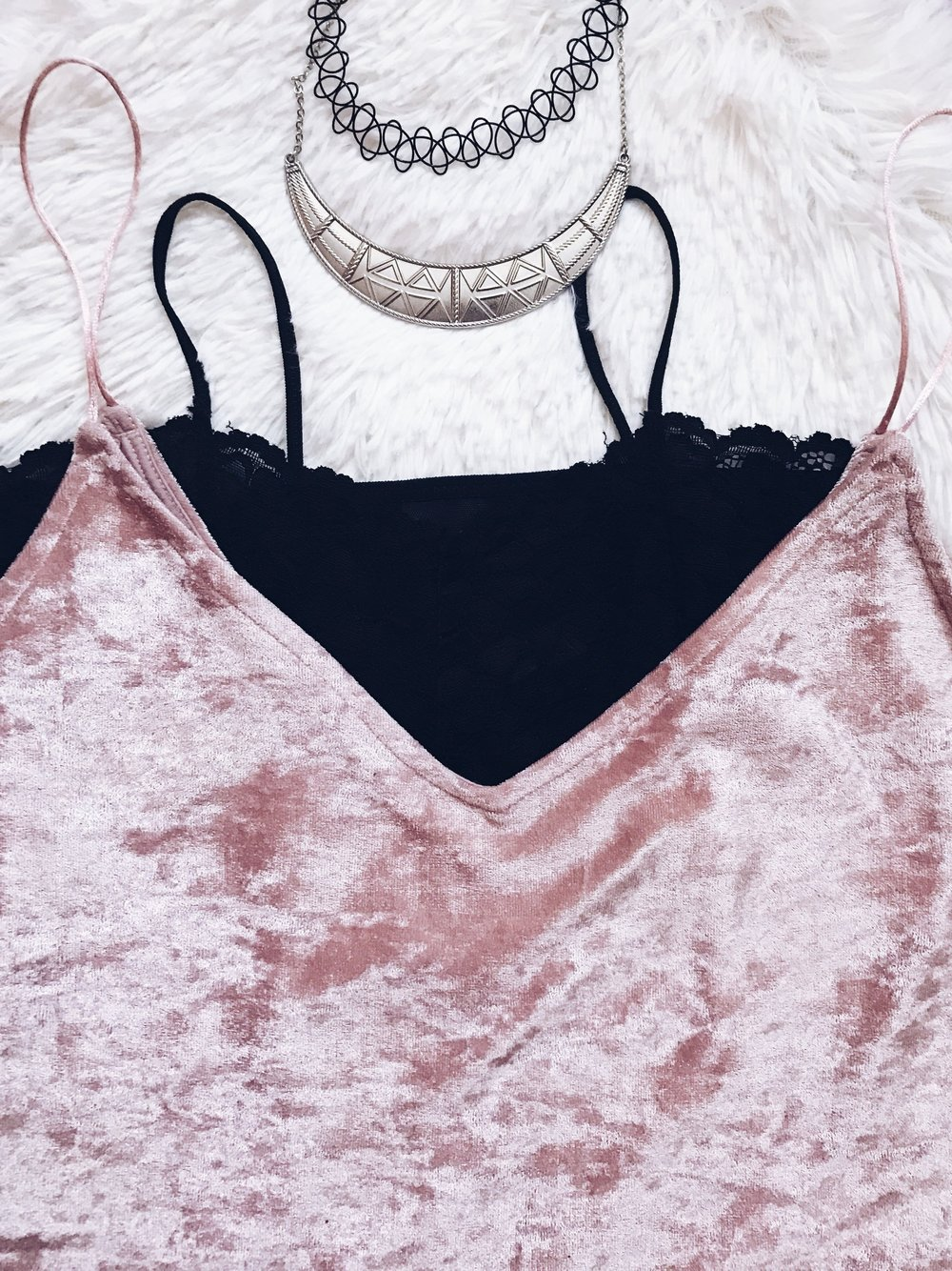 crushed velvet rose gold top black lace bralette outfit ootd choker necklace jewelry flatlay style fashion arockchicklife