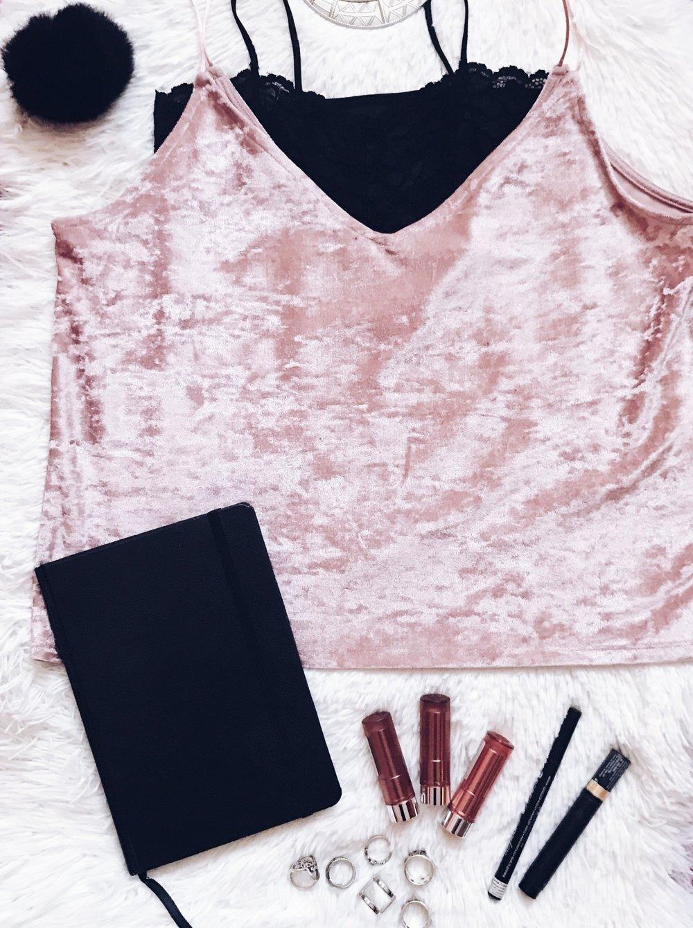 Top: H&M  Black Lace Bralette: ASOS  Lipsticks: Essence  Eyeliners: Essence, L'Oréal  Rings: H&M, Forever 21  Notebook: Moleskine