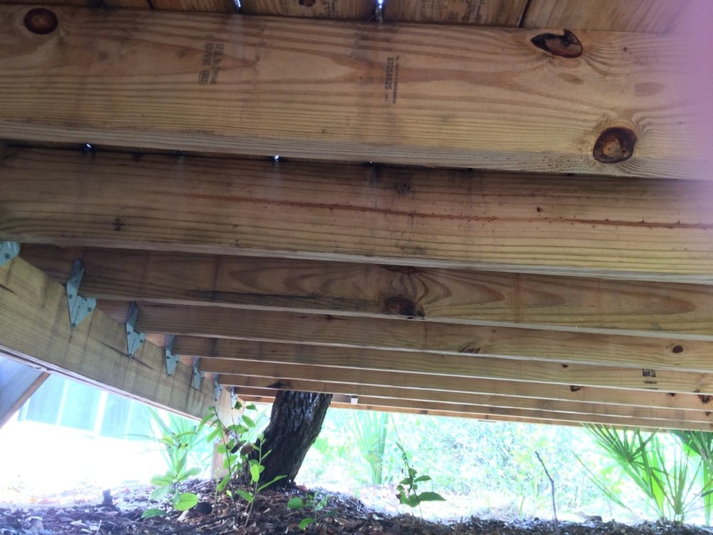 freestanding treehouse deck joists