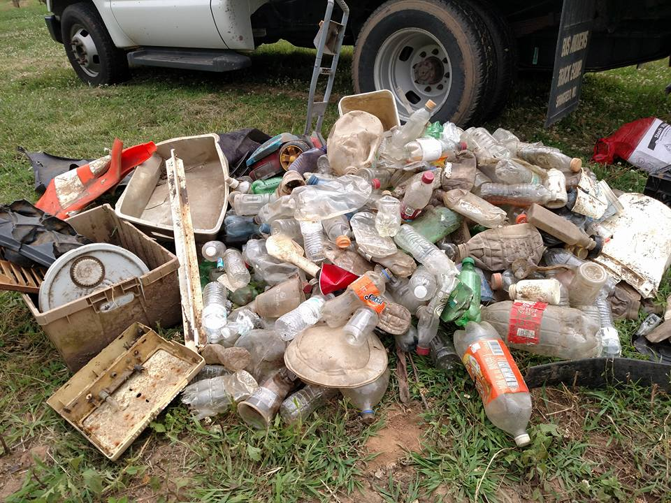 Photo taken by the James River Basin Partnership during a single afternoon urban stream clean-up at Wilson's Creek - finding over 400 separate single-use plastic items.