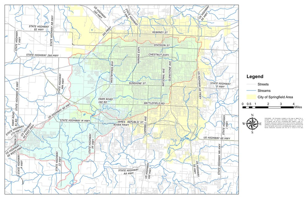 (The Wilson's Creek Grant Project area is outlined in red.)