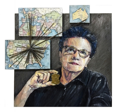 "Portrait of the Artist and the Magnitude of Small, 2017, encaustic, paint, steel rods and Joan of Arc Medal on sheet metal, 13.25"" x13.25"" x 2.75""  ""In this self‑portrait, Pat Benincasa held her Joan of Arc medal under a map showing its global reach to offer comfort."""