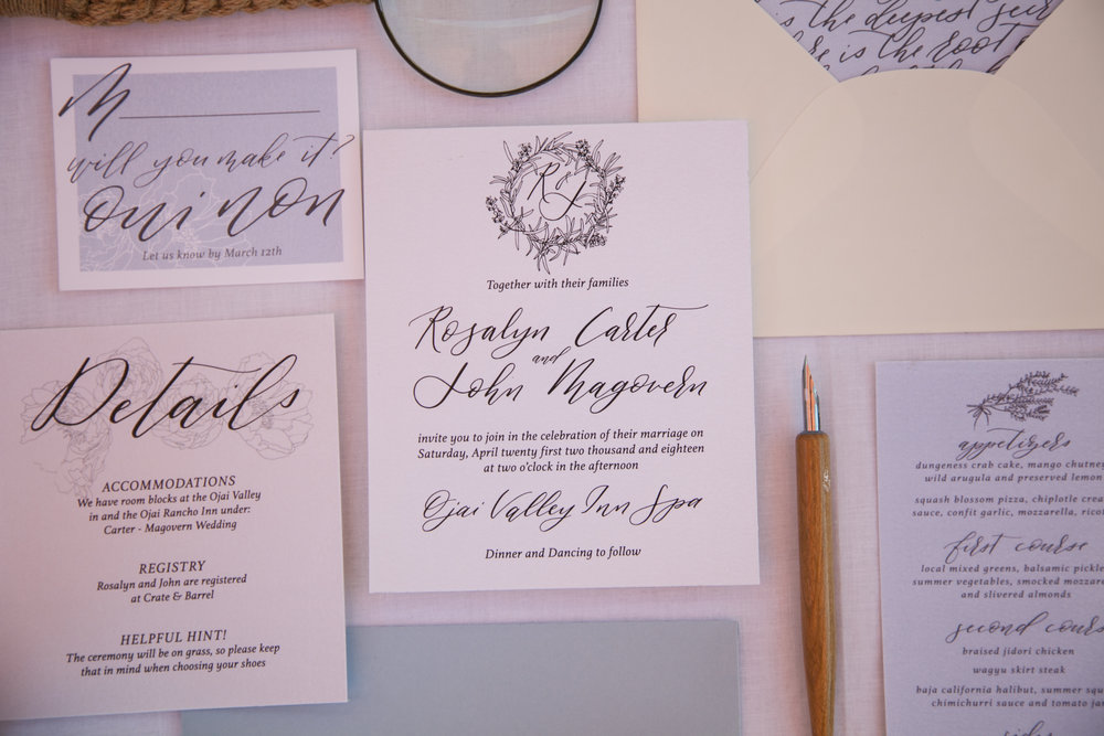 CUSTOMIZABLE - The colors of this suite can be adjusted to match your wedding palette and theme. Names and event details will be changed to correspond with your event. You have a choice between the three calligraphy styles below for the suite (please note the envelope insert cannot be changed, but can be removed).