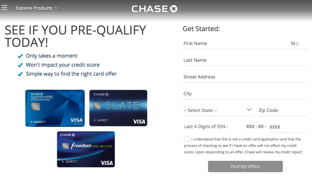 Chase Pre-Qualified Credit Card Offers